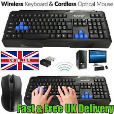 NEW 2.4Ghz Wireless Gaming Keyboard And Optical Mouse Set Combo GAMER PC Laptop