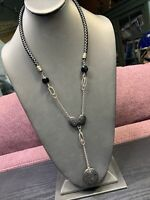 Vtg Black Stone & Wood Beaded Oriental Drop Dangle Pendant necklace  22""