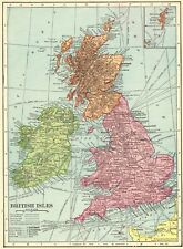 1908 Antique British Isles Map of the United Kingdom Map England Scotland 6619