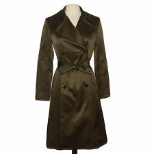 ELIE TAHARI Double Breasted Trench Womens 2 XS Olive Green Long Coat Belt Jacket