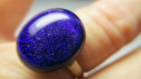 STERLING SILVER 925 ESTATE GSF ELECTRIC BLUE GLASS CABOCHON BAND RING SIZE 7
