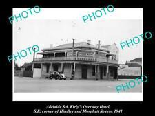 Old Postcard Size Photo Of Adelaide Sa Overway Hotel Morphett St 1940