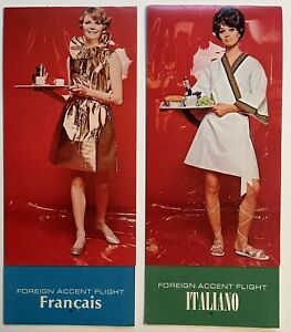 TWA Airlines 2 x Foreign Accent Menus – Italy & France. Seldom Seen