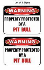 """2 Count """"Warning Property Protected by a Pit Bull"""" Laminated Dog Sign w/Decal"""
