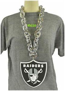 Oakland Raiders NFL 3D Fan Chain Necklace Foam Magnet -Silver