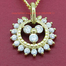 Genuine Real Solid 9K Yellow Gold Flower Pendant Lab Diamond For Chain Necklace