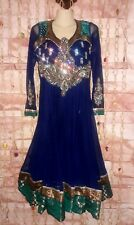 Handmade Heavy Beaded Festival Dress From India Royal Blue Fit US 10-12 or MED.