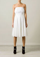 NEW GIVENCHY | White Pleated Cotton Strapless Bustier Dress, Size 34 Spring 2014
