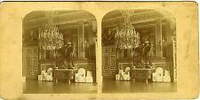 PHOTO vue stéréo 1860 albuminé PARIS Chambre de Louis XIV Palais des Tuileries