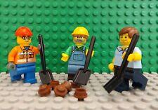 3 LEGO Brand New Mini Figures Workman City Worker Cleaner Shovel & Dirt