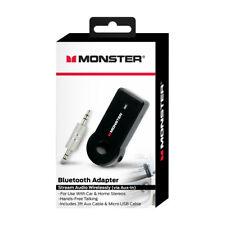 Monster Wireless Bluetooth Adapter Stream Audio Wirelessly Via AUX in Black