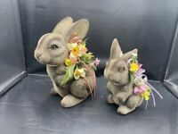 VINTAGE FUZZY FLOCKED BUNNY RABBIT LOT OF 2 COIN PIGGY BANK MADE IN HONG KONG