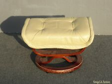 Vintage Mid Century Modern Ottoman Bench w Yellow Cream Leather