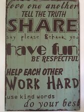 Rustic Oversized Expressions Wall Plaque Distressed Green Family Rules Sign