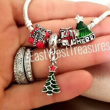 Red Santa Clause Christmas holiday Present surprise DIY Bead for Charm Bracelets