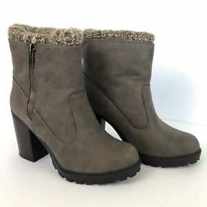 """Winter Ankle Boots UK 7, Taupe Grey Brown Knitted Lining Chunky Heel 4"""" New Look"""