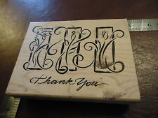 I THANK YOU WITH ELEGANT FLOWERS AND IVY ON THE I'S RUBBER STAMP QUOTE SAYINGS