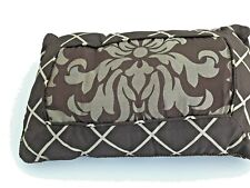 "Interior Designs Brown Taupe Lumbar Pillow  Floral Checks Decor Accent 12x18"""