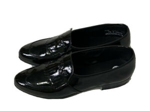 Men's Black Patent Leather Wingtip Loafers Shiny Slip On Size 7.5M Made In USA