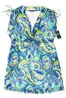 RALPH LAUREN Women Swimwear Plus Carnivale Paisley Cotton Cover Up Size 1X