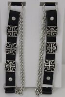 Biker Men Western Boot Silver Chain Leather 2 Straps Bracelet Iron Cross Charms