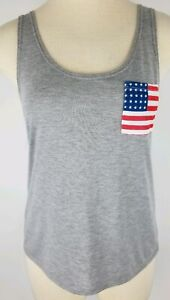 NEW WOMENS SIZE LARGE GRAY W AMERICAN RED WHITE & BLUE FLAG POCKET TANK TOP
