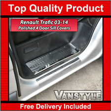 RENAULT TRAFIC 2003-14 CHROME POLISHED STAINLESS 4 DOOR STEP SILL COVER TRIM SET
