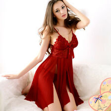 Sexy Womens Lace Bow Perspective Nightdress Lingerie Nightwear Robes G-string