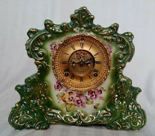 Antique Ansonia Reporter Open Escapement Green Pansy China Mantle Clock Working