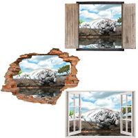 Window Wall Sticker Decal Vinyl 3D White Tiger Animals home art room decor