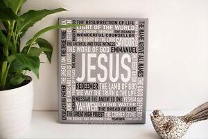 Christian Canvas Wall Art Print Name of JESUS God Faith gift Word Kitchen Art UK