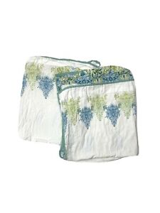 """2 World Market Discontinued Crinkle Cotton Fabric Shower Curtains Blue Green 72"""""""