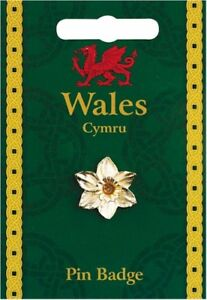 Wales Daffodil Gold Plated Lapel Pin Badge
