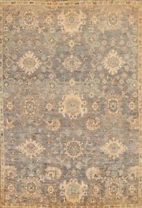 Oushak Floral Oriental Area Rug Wool Hand-knotted Traditional 8x11 ft Charcoal