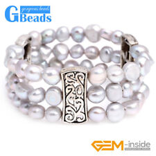 Cultured Pearl 3 Strands Link Bracelet Fashion Jewelry Adjustable Free Shipping