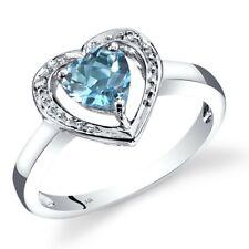 14K White Gold Swiss Blue Topaz Diamond Heart Shape Ring 1 Carats Size 7
