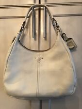 PRADA White Vitello Daino Leather Hobo Bag BR4373 (with authenticity card)