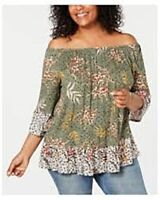 Style & Co Blouse Green Peasant Crop Top Bell Sleeve Floral BoHo Womens XS New