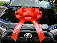 Red Happy Birthday Car Bow | Magnetic Back, Vinyl, No Scratch, Red | Ships Free