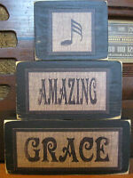 Amazing Grace Primitive Rustic Inspirational Stacking Blocks Wooden Sign Set