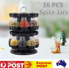 16 Jars Rotating Spice Rack Stand Kitchen Seasoning Holder Stainless Steel Stand