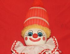 "t4 Hand Made 20"" Tube Sock Clown, Orange Red White Felt Features Pom Creepy"