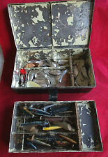 A LARGE VINTAGE LURE TIN + LARGE SELECTION OF OLD LURES
