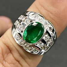 MENS 3.08TCW Natural Emerald Diamond 18K Solid White gold ring Engagement Unisex