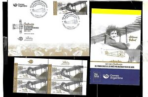 #10004 ARGENTINA 2021 AVIATION 1stWOMEN PILOT CROSSING ANDES BLOCx4+FDC+BROCHURE