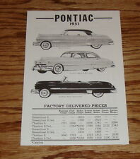 1951 Pontiac Factory Delivered Prices Sales Brochure 51 Catalina Chieftain