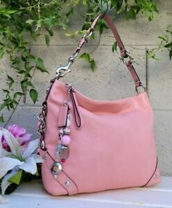 Coach F23985 Carly slim Pink pebbled Leather Hobo Shoulder Handbag Purse EUC