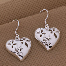 Silver Plated Pair Of Butterfly Heart Shape Earrings Hooked.925 Sterling