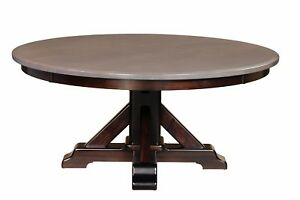 "Large Amish Round Pedestal Dining Table Solid Wood 1-1/2"" Top 60"",66"",72"",78"",84"