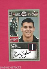 GREG SALAS 2011 SENIOR BOWL AUTOGRAPH HAWAII WARRIORS BUFFALO BILLS ROOKIE AUTO